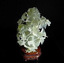 Chinese 20th Century Translucent Celadon Jade Vase