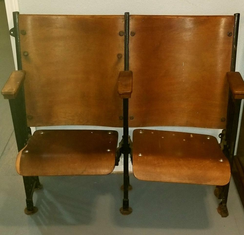 Terrific Set Of Wooden And Cast Iron Theatre Folding Chairs Caraccident5 Cool Chair Designs And Ideas Caraccident5Info
