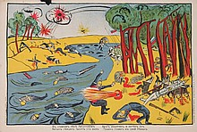 ANONYMOUS   The war against the Germans Forest of Augustov, 1915 Original lithograph Loubok 38 x 56 cm Some missing paper on top