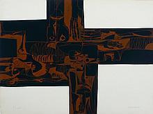 GUAYASAMIN  Oswaldo  1919-1999     Lidice 2 Variante Gravure signée et numérotée /25 au crayon par l'artiste, 1973, Poligrafa éditeur, Barcelone -76 x 56 cm