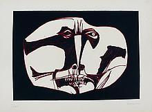 GUAYASAMIN  Oswaldo  1919-1999     Mascara 3 Variante Gravure signée et numérotée /25 au crayon par l'artiste, 1973, Poligrafa éditeur, Barcelone -76 x 56 cm