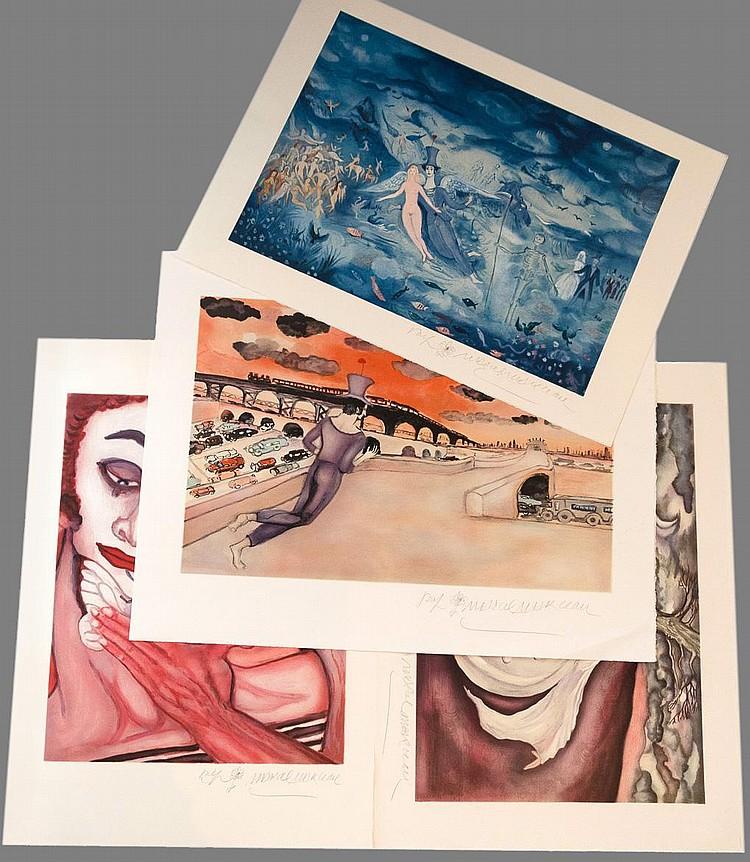 MARCEAU Marcel 1923-2007    Lot de 4 lithographies signées en bas à droite-
