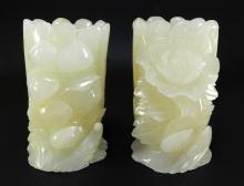 Chinese Hardstone Buddha Hand Fruit Candle Holders