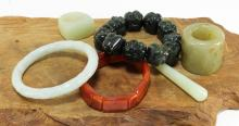 Chinese Jade & Hardstone Jewelry w/ Archers Rings