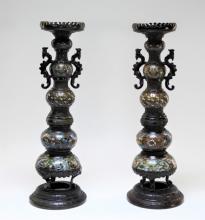 PR Chinese Archaic Bronze Champleve Candlesticks