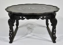 Korean MOP Inlaid Black Lacquer Tea Table
