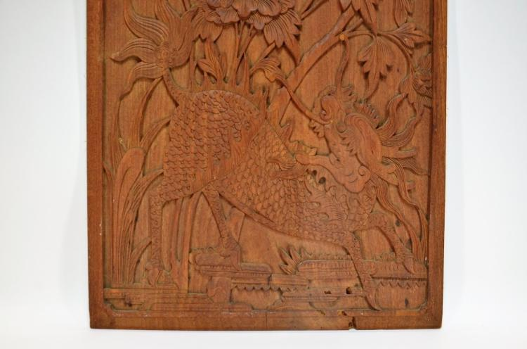 Japanese carved wood relief mythical beast panel