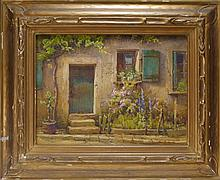 Hezekiah A Dyer Moret Cottage Watercolor Painting