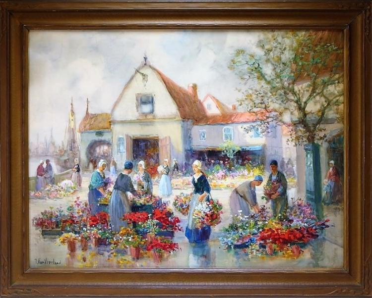 Francis Vreeland Dutch Market Gouache Painting