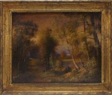 T. Bailey New England Fall Landscape O/C Painting