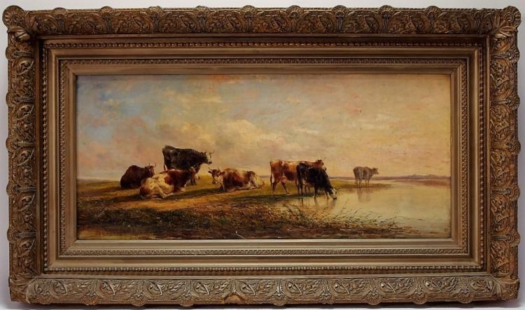 Edmund Aylburton Willis O/C Cow Landscape Painting