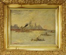 Sgd. Impressionist New York Harbor Oil Painting