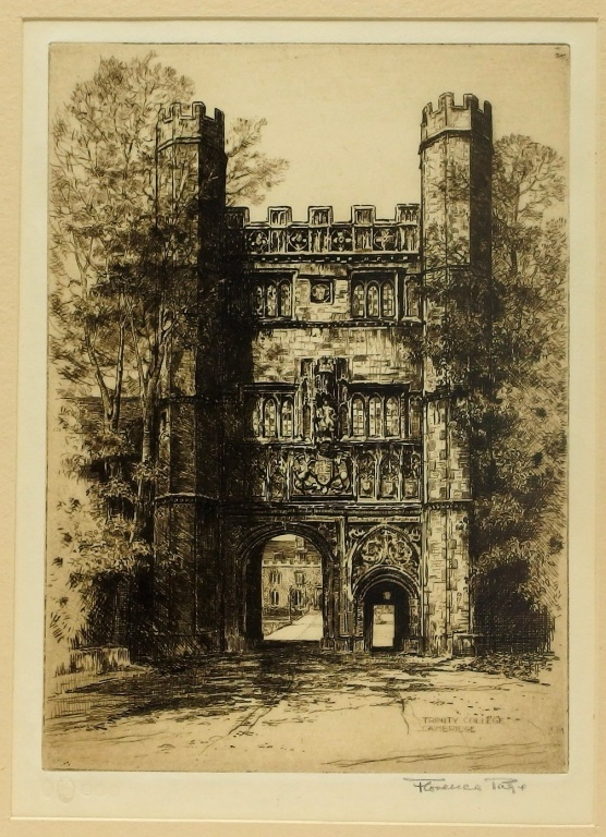 Florence Page Trinity College Great Gate Etching