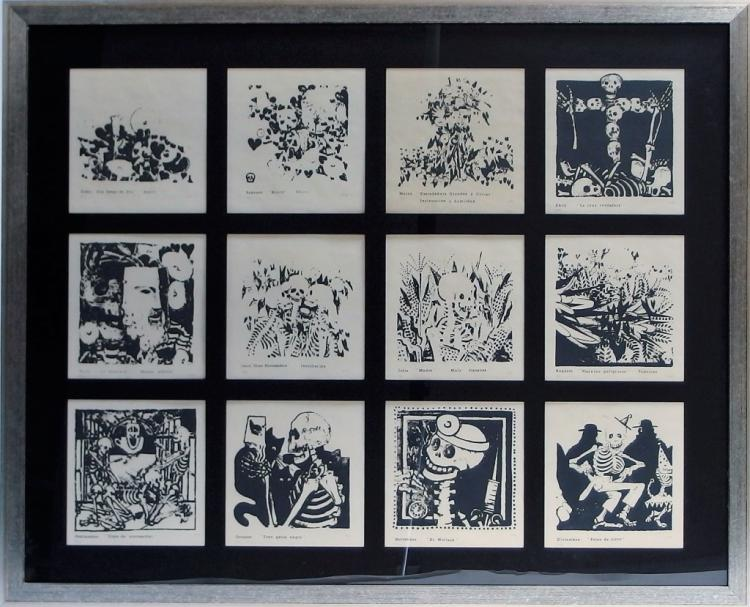 Day of Dead Lithograph Calendar Series Sgd. A.M.