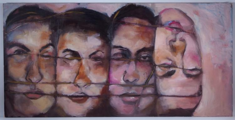 Four Figure Grotesque Surrealist Acrylic Painting