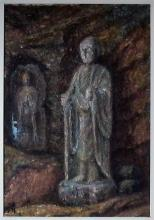 Japanese Standing Kannon Buddha Oil Painting