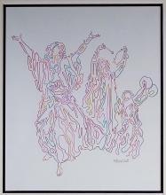 Guillaume Azoulay Dancing Women Colored Drawing