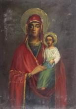 Signed Russian 1917 Madonna & Child Icon Painting