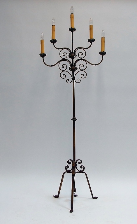American Art Deco Wrought Iron Torch Lamp