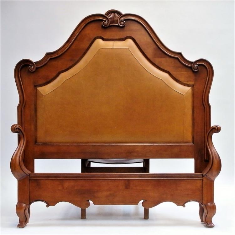 French Style Cherry Wood Leather Shell Queen Bed