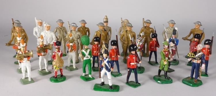 32 Misc. American & English Lead Soldier Toys