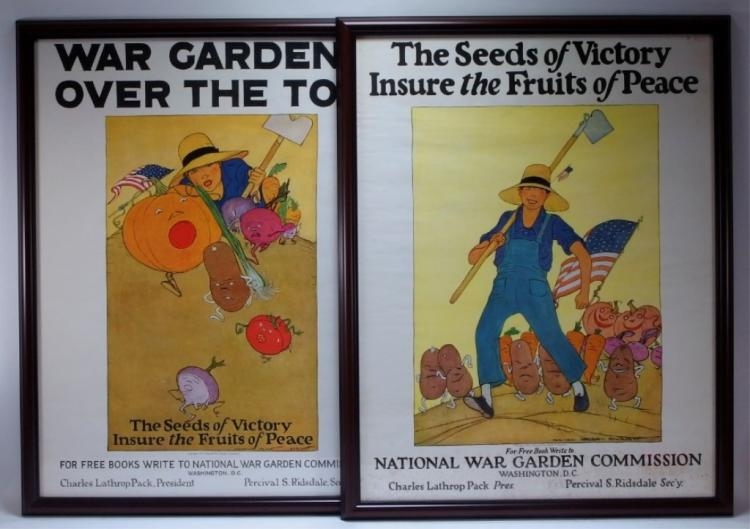 2 M.W.E. Barney WWI National War Garden Posters