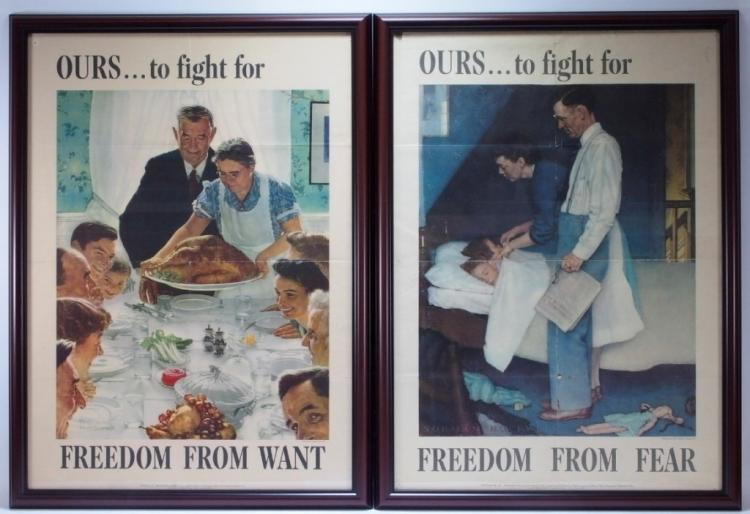 2 Norman Rockwell WWII Ours to Fight For Posters