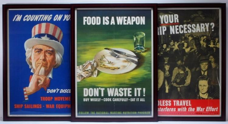 3 WWII Food Travel Discussion War Posters