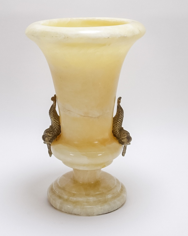 Carved Alabaster Dolphin Handle Trumpet Vase
