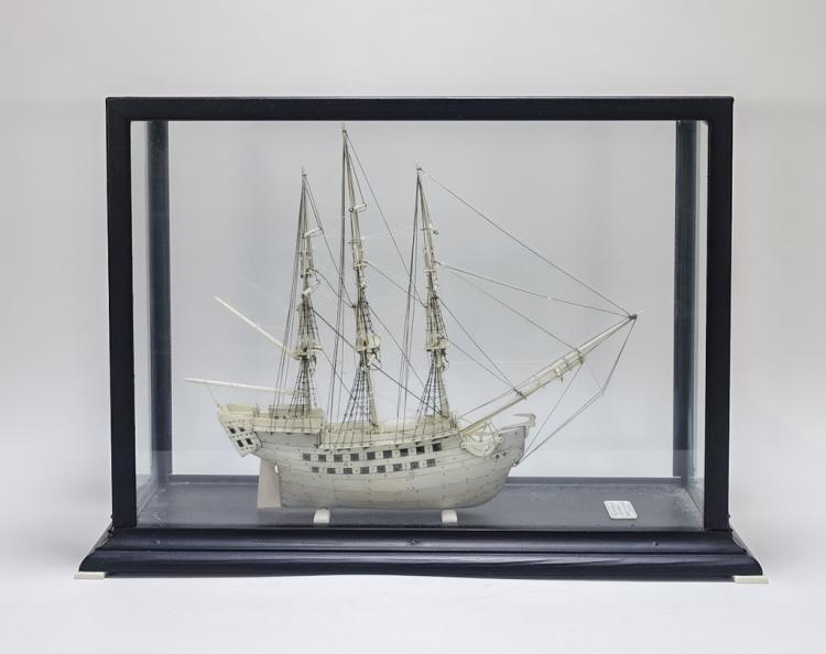 19C Ivory British Man o War Ship Model