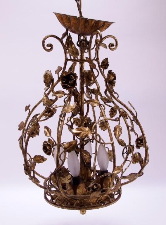 European Gilt Spelter Floral Boudoir Chandelier