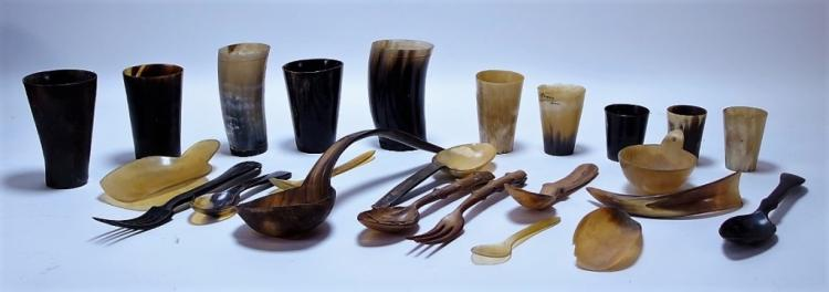 Collection of 18-19C Horn Cups and Utensils