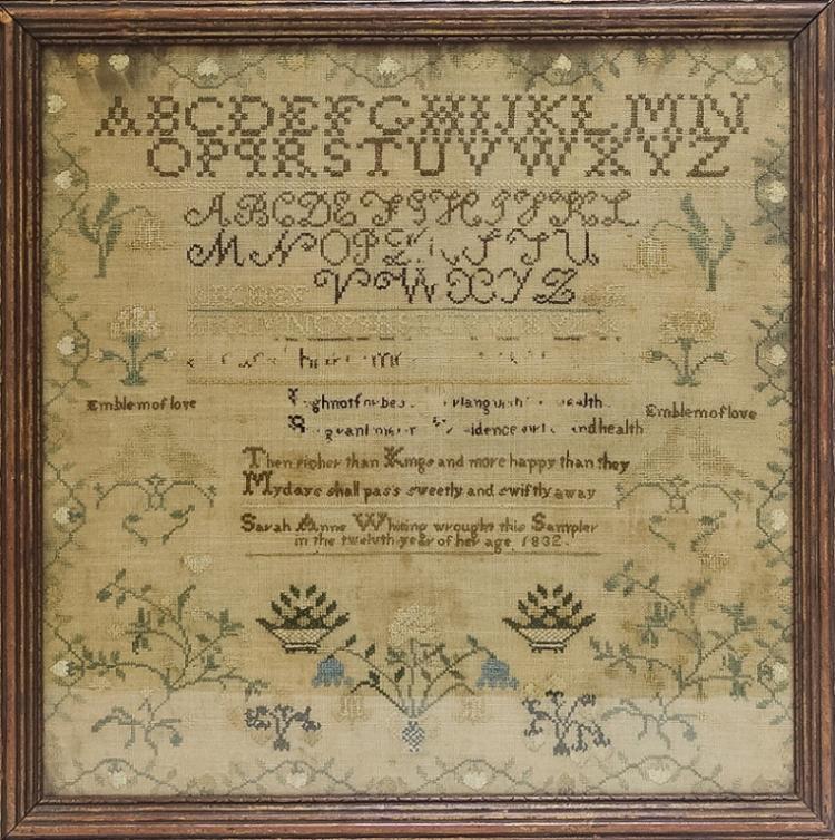1832 American Sarah Anne Whiting Folk Art Sampler