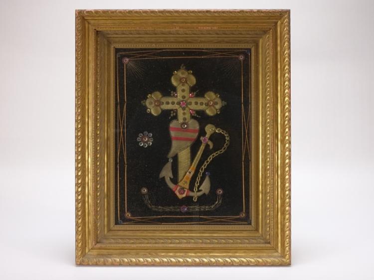 19C Sailors Sweetheart Valentine Stumpwork Textile