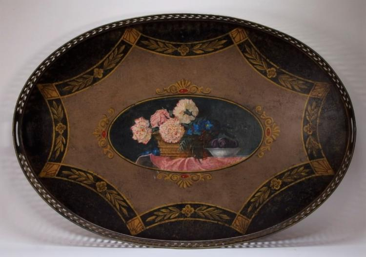 European Floral Still Life Painted Toleware Tray