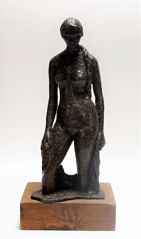 European Impressionist Bronze Figure of Nude Woman