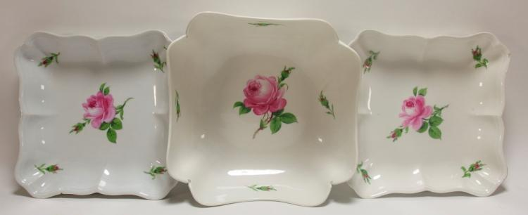 3 Meissen Pink Rose Square Serving Dishes