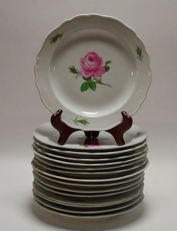 15 Meissen Porcelain Pink Rose Salad Plates