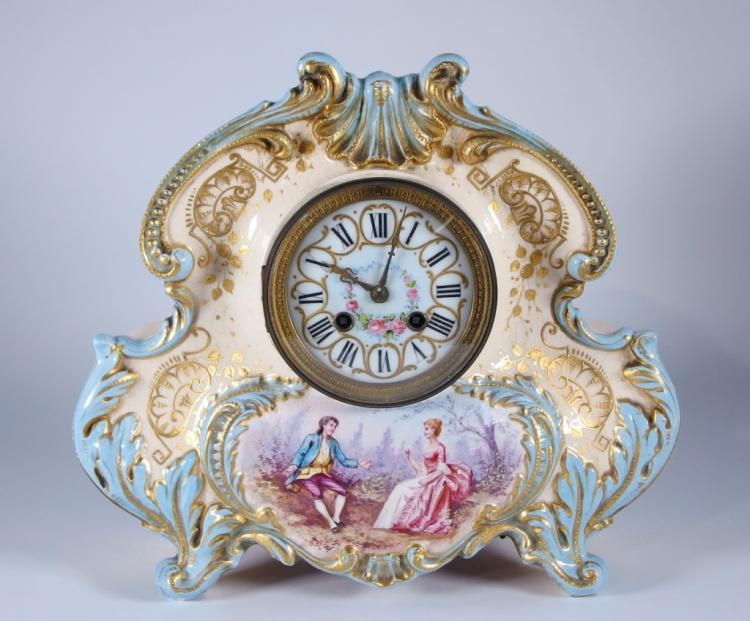 French Japy Frères Porcelain 8 Day Mantle Clock