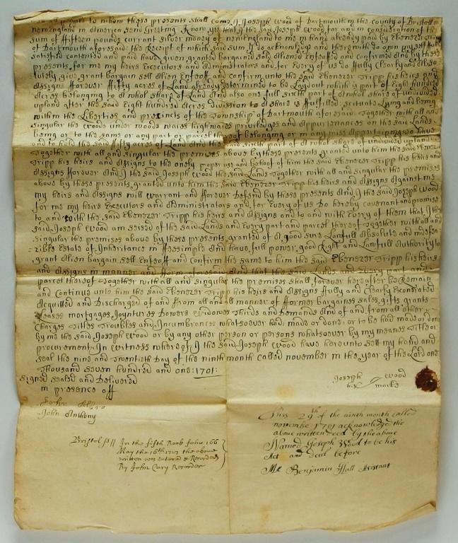 1701 Massachusetts Land Deed by Joseph Wood