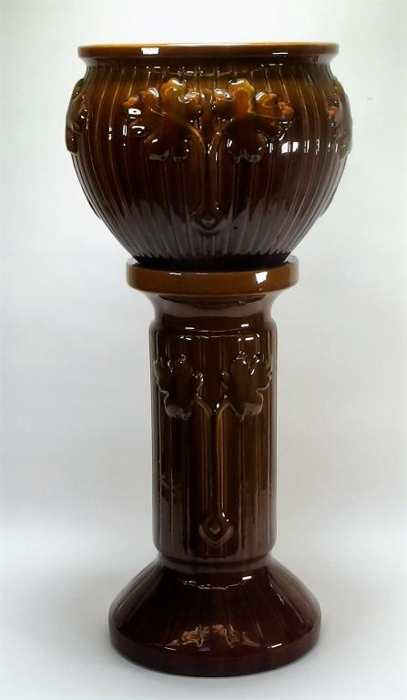 American Majolica Art Pottery Jardiniere Pedestal