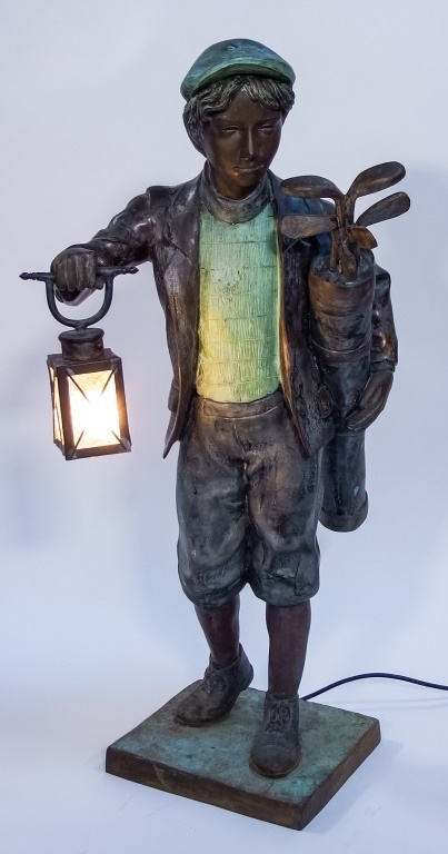 Bronze Patinated Golf Caddy Lantern Sculpture