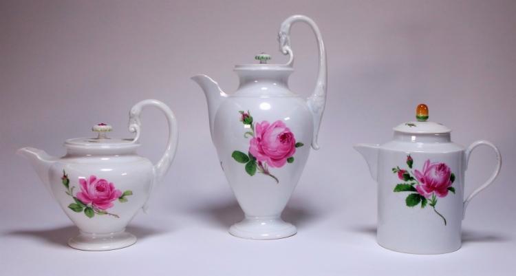 3 German Meissen Porcelain Pink Rose Tea Pots