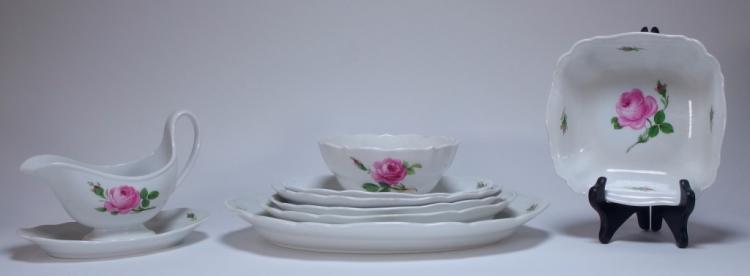8 German Meissen Porcelain Pink Rose Serving Lot
