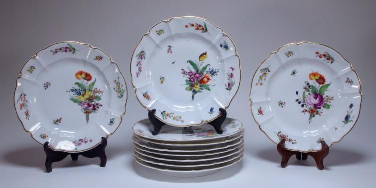 10 German Nymphenburg Cumberland Rococo Plates