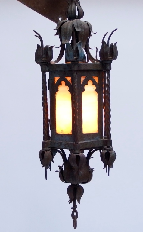 Arts & Crafts Gothic Slag Glass Ceiling Lamp