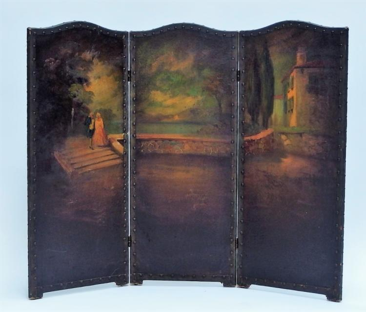 French Romantic 3 Panel Hand Panting Screen