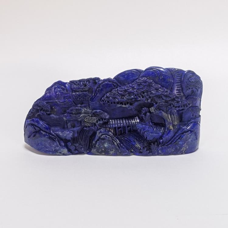Chinese Carved Lapis Lazuli Boulder Carving