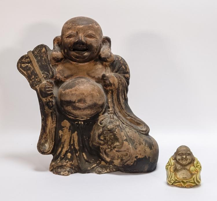 2 Chinese Happy Buddha Pottery Figures