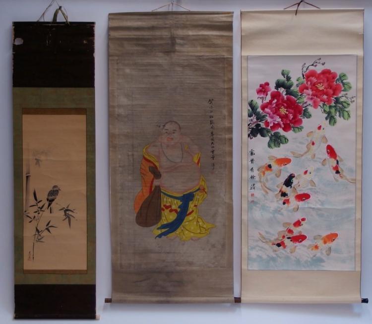 3 Asian and Chinese Buddha and Nature Scrolls